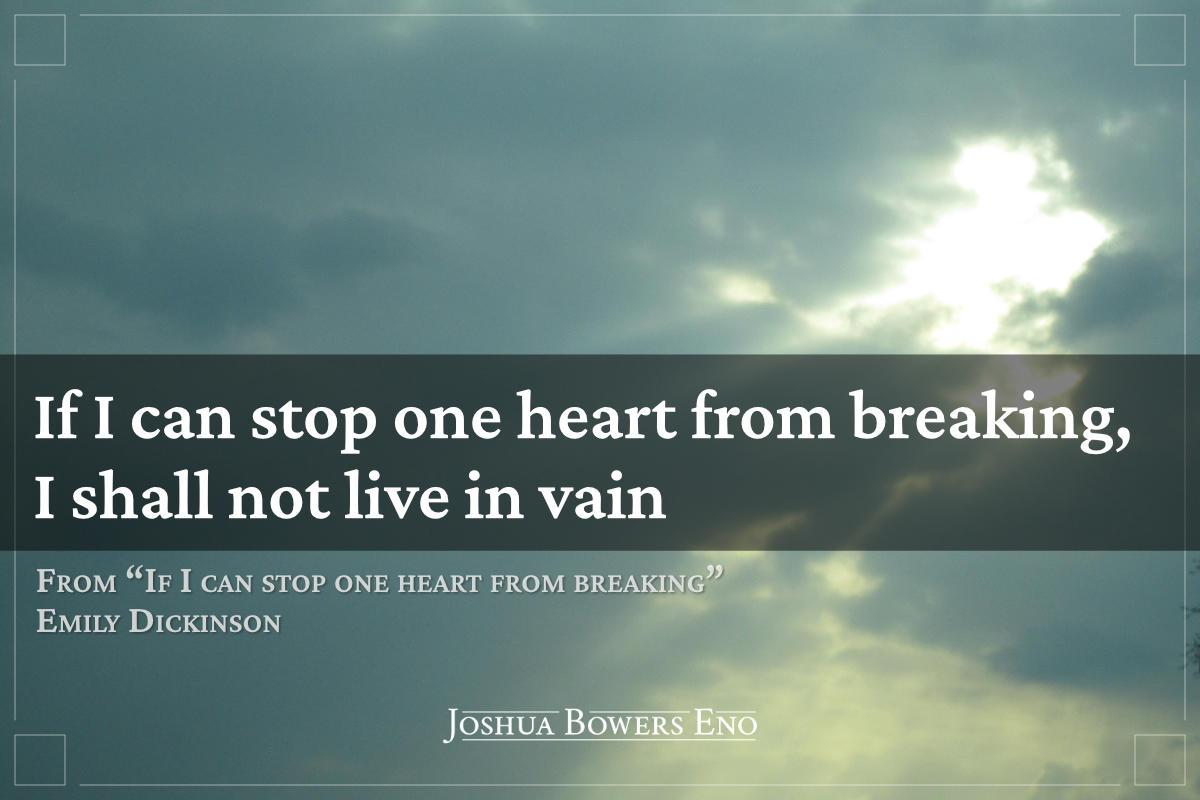 Emily Dickinson quote over sunburst photo